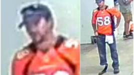 An apparent Broncos fan suspected of taking photos up a woman's skirt at Mile High. (Metro Denver Crime Stoppers)