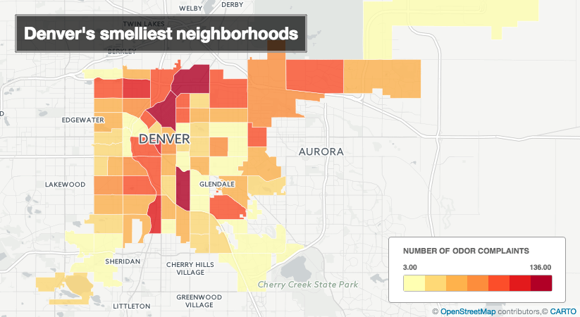 Five Points had the most odor complaints from 2012 to 2016.