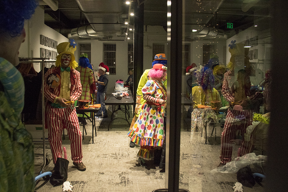 The clown dressing room before the parade of lights. Dec. 2, 2016. (Kevin J. Beaty/Denverite)