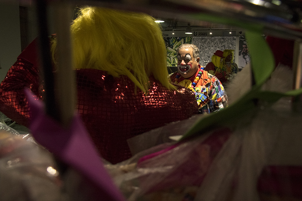 Clown Ron Seigneur in the clown dressing room before the parade of lights. Dec. 2, 2016. (Kevin J. Beaty/Denverite)