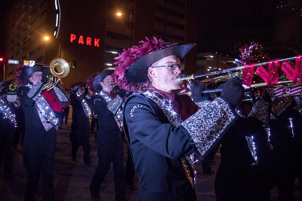 The Denver Citywide Marching Band. Parade of lights. Dec. 2, 2016. (Kevin J. Beaty/Denverite)