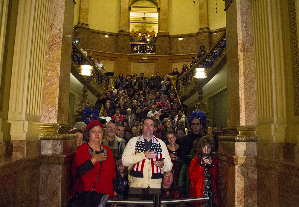 Hundreds gather to watch the Colorado Electoral College vote, Dec. 19, 2016. (Kevin J. Beaty/Denverite)  politics; electoral college; copolitics; state capitol; election; kevinjbeaty; denver; denverite; colorado;
