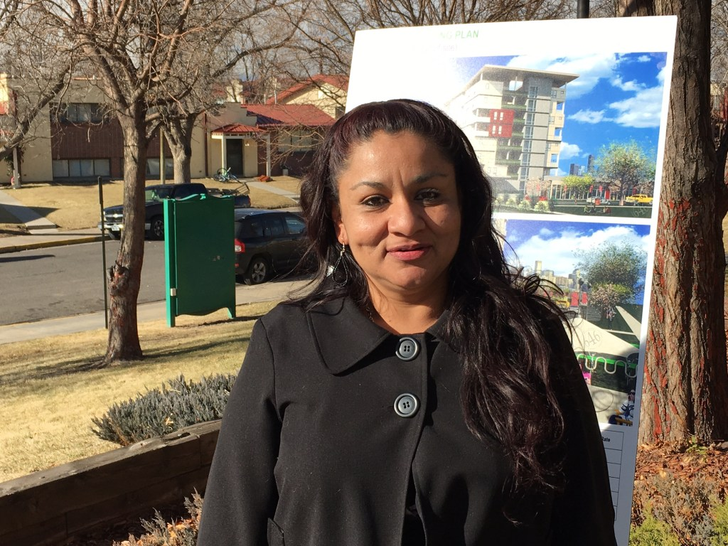 "Local Resident Council President Lisa Saenz said Sun Valley will be ""better, no, the best neighborhood in the city."" (Erica Meltzer/Denverite)"