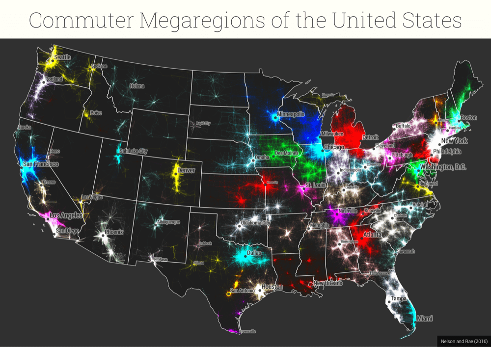 """The lower 48 states, overlaid with a map of millions of commutes. (S. Sobolevsky, R. Campari, A. Belyi, and C. Ratti """"General optimization technique for high-quality community detection in complex networks"""" Phys. Rev. E 90, 012811 2014)"""