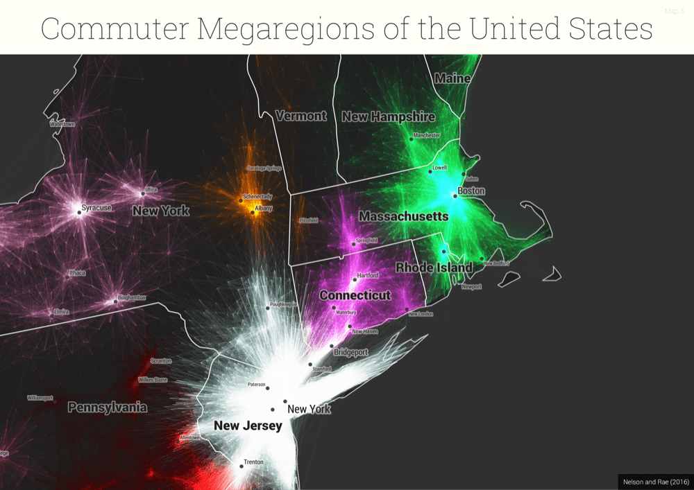 """A map of millions of commutes shows the United States' """"megaregions."""" (S. Sobolevsky, R. Campari, A. Belyi, and C. Ratti """"General optimization technique for high-quality community detection in complex networks"""" Phys. Rev. E 90, 012811 2014)"""