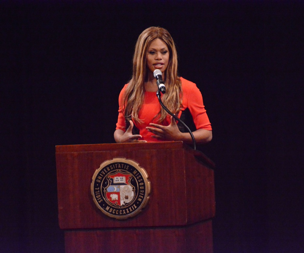 Laverne Cox speaks at the Missouri Theatre. (KOMUnews/Flickr)