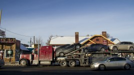 Two decks of cars on West Colfax. Jan 9, 2016. (Kevin J. Beaty/Denverite)  west colfax; business improvement district; kevinjbeaty; denver; denverite; colorado;