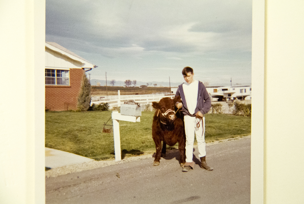 """""""Catch-it-calf"""" competitor Mark Stevens outside his home, 1968. (Denver Public Library/Western History Collection/Denver Metro Chamber of Commerce Records)  denver; denverite; denver public library; western history collection; archive; archival; National Western Stock Show; nwss;"""