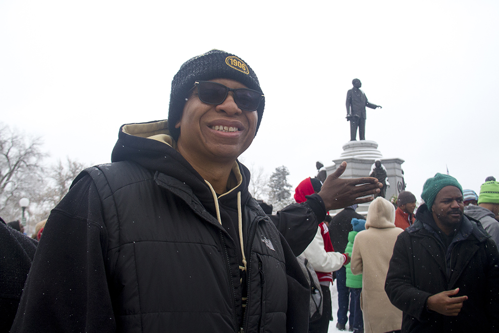 Denver Alpha Phi Alpha president Andre Stott. The Martin Luther King Jr. Marade, Jan. 16, 2017. (Kevin J. Beaty/Denverite)  mlk; marade; martin luther king jr; city park; denver; colorado; kevinjbeaty;