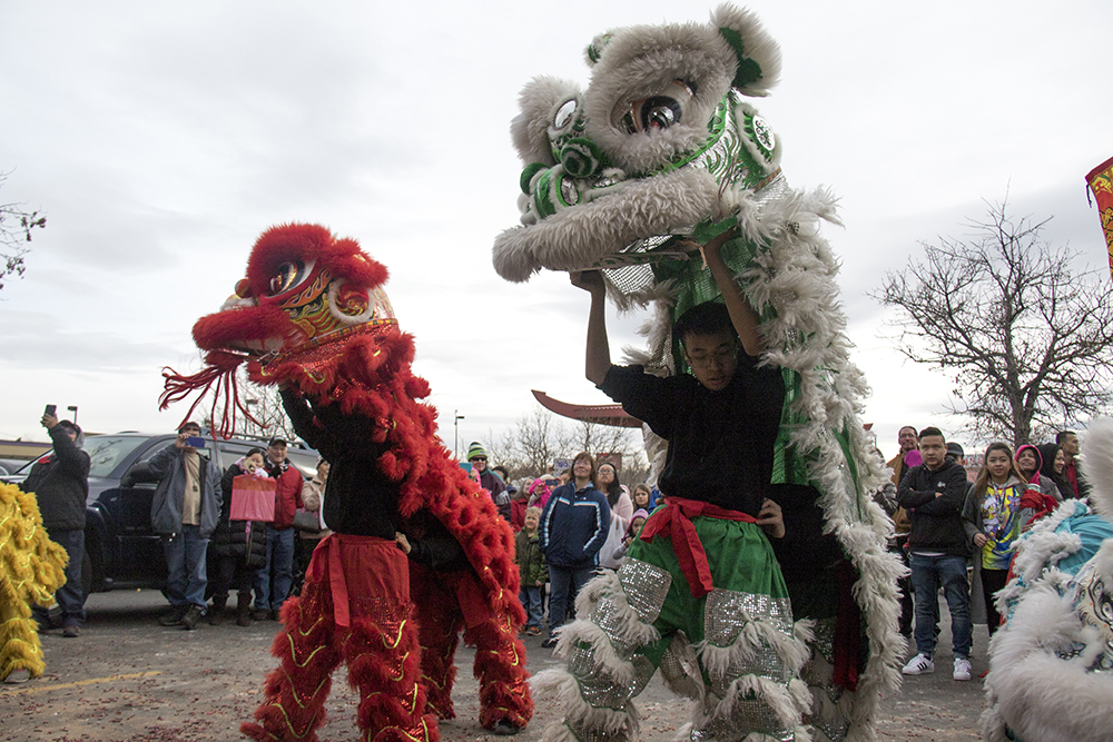 Nguyen Thieu Buddhist Youth Group performers dressed as lions perform in the Far East Center on Federal Blvd. during Lunar New Year, Jan. 29. 2017. (Kevin J. Beaty/Denverite)