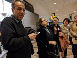 Shahla (right) and Abey Mehdizade travelled from Iran and made it through customs at DIA.