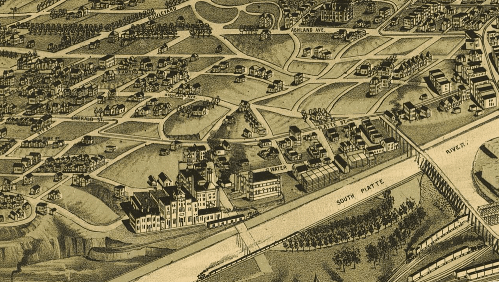 An 1889 map of Denver shows the Lower Highland, including the present site of REI near bottom center. (Library of Congress)