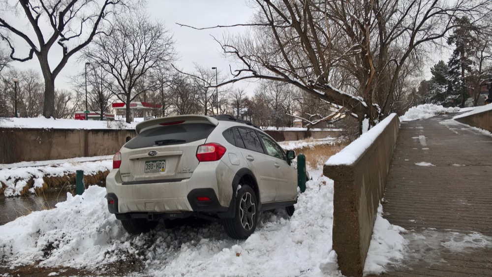 Kelet Robinson's Subaru on the Cherry Creek Trail. (Courtesy Kelet Robinson)