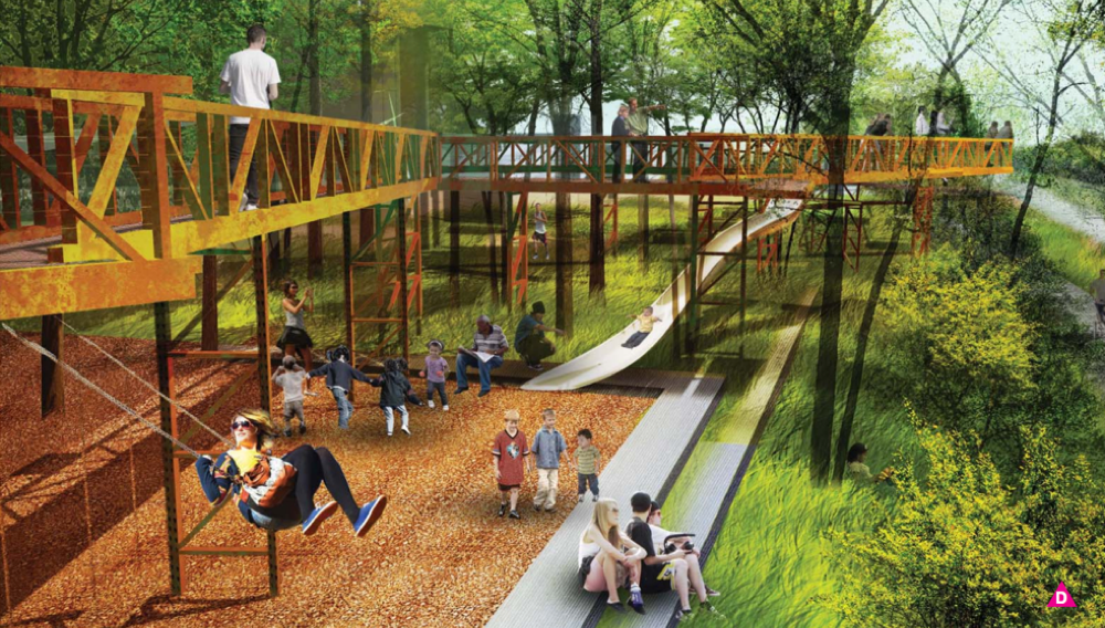 A rendering shows a gangway running along the proposed RiNo Promenade. (Wenk Associates, city of Denver)