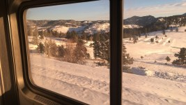 The Colorado mountains seen from the Winter Park Express. (Andrew Kenney/Denverite)