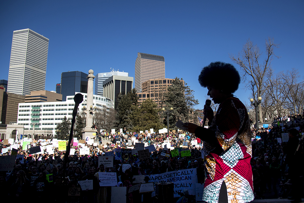 "The full-time activist known as ""Queen Phoenix"" or Dezy led the event. The Protect Our Muslim Neighbors Rally at Civic Center Park, Feb. 4, 2017. (Kevin J. Beaty/Denverite)  march; protest; muslim neighbors; civic center park; copolitics; kevinjbeaty; denver; denverite;"