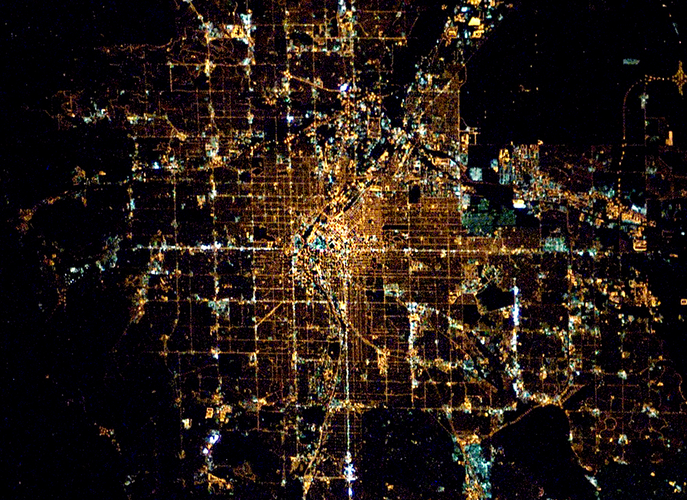 Denver at night from space. Full size available for free.(International Space Station/NASA/Public Domain)
