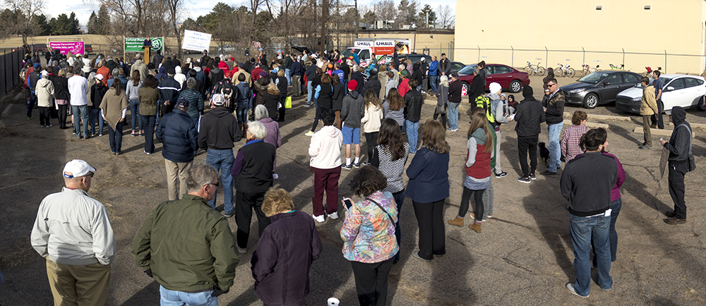 """There were about 200 people in attendance at the """"Defund Planned Parenthood"""" Rally outside Planned Parenthood of the Rockies, Feb. 11, 2017. (Kevin J. Beaty/Denverite)  abortion; pro life; planned parenthood; denver; colorado; kevinjbeaty; denverite; copolitics; politics;"""