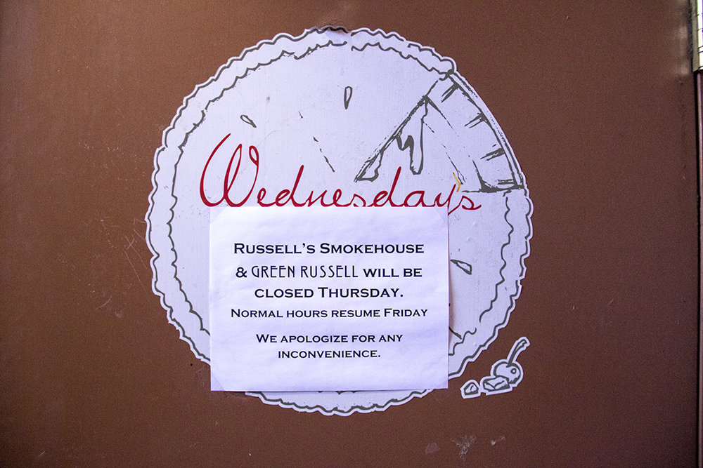 "Green Russell and Russell's Smokehouse in Larimer Square closed on the ""day without immigrants,"" Feb. 16, 2016. (Kevin J. Beaty/Denverite)  day without immigrants; immigration; deportation; kevinjbeaty; denver; restaurant; food; larimer square; denverite; colorado; copolitics;"