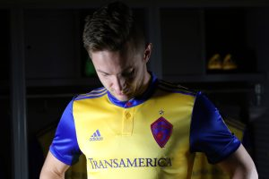 Kevin Doyle models the Rapids' new threads. (Courtesy of Colorado Rapids)