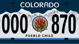 A mockup of the proposed Colorado license plate with Pueblo Chile on it. (Courtesy of the Pueblo Chile Growers Association)