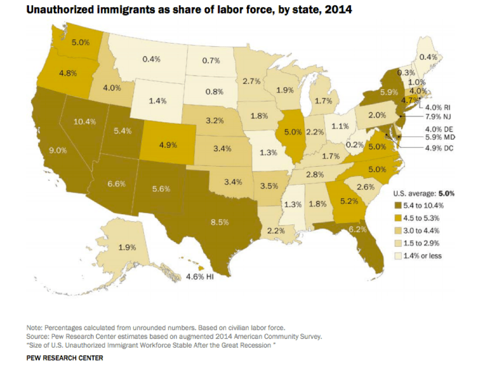 Where undocumented immigrants live. (Pew Research Center)