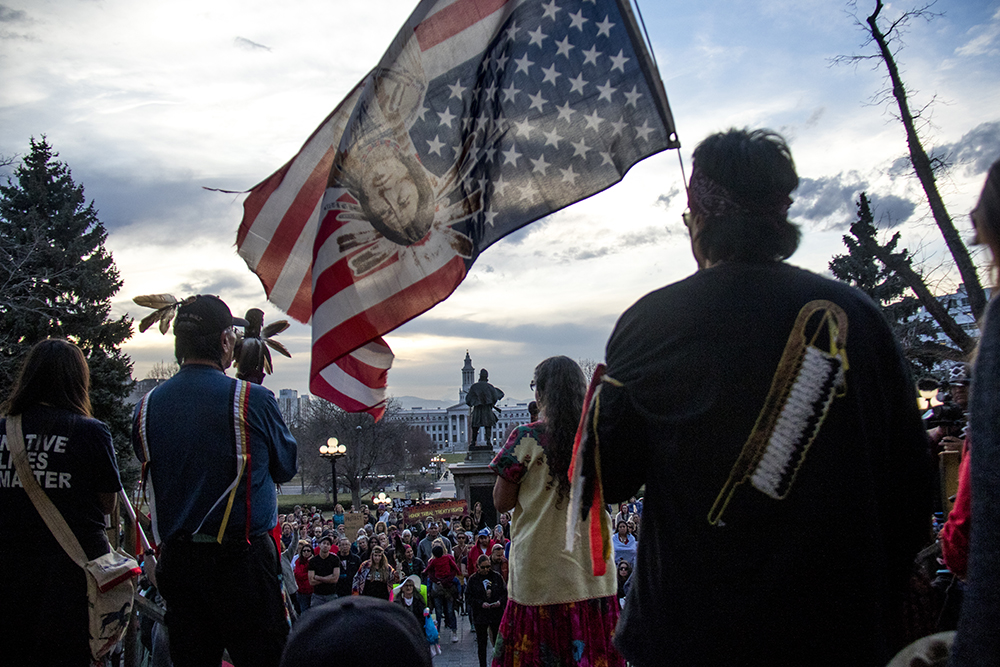 Rocky Rodriguez speaks to the crowd from the Capitol steps. A rally against the Dakota Access Pipeline, March 10, 2017. (Kevin J. Beaty/Denverite)  march; protest; rally; sunken gardens; capitol; indigenous; native american; nodapl; dakota access pipeline; standing rock; kevinjbeaty; denver; denverite; colorado;