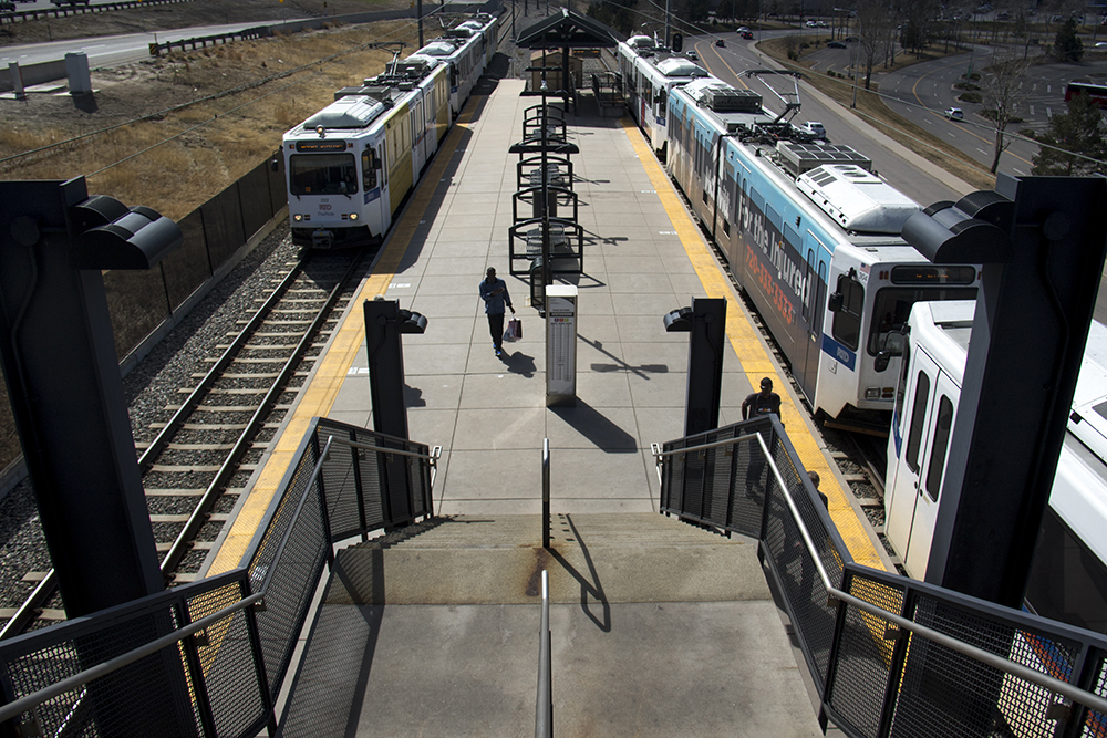 RTD trains at the County Line station. (Kevin J. Beaty/Denverite)  transportation; transit; kevinjbeaty; denver; colorado; denverite; centennial; rtd; train; light rail