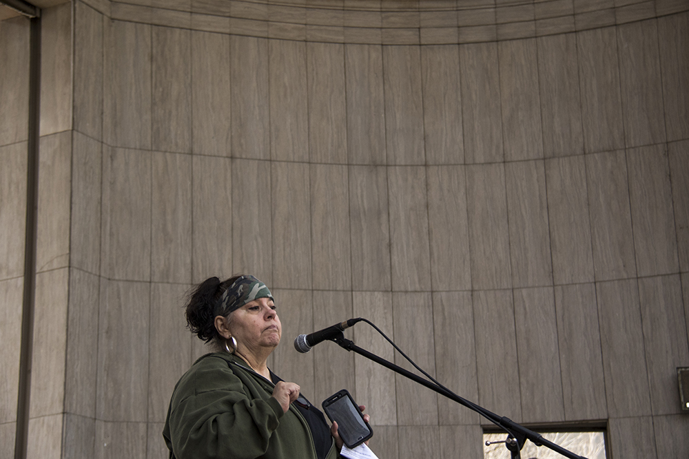 "Darlene ""Smokee"" Jones speaks at Civic Center Park as part of the ""Impeach Trump Now"" rally, March 25, 2017. (Kevin J. Beaty/Denverite)  protest; rally; kevinjbeaty; denverite; denver; colorado; civic center park; copolitics;"