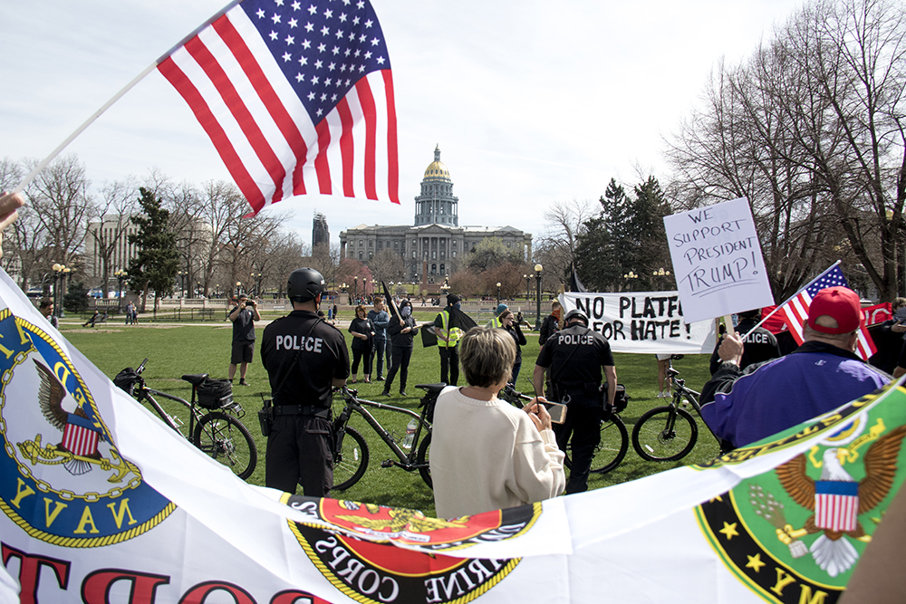 "A ""Make America Great Again"" rally at Civic Center Park, March 25, 2017. (Kevin J. Beaty/Denverite)  protest; rally; kevinjbeaty; denverite; denver; colorado; civic center park; copolitics;"