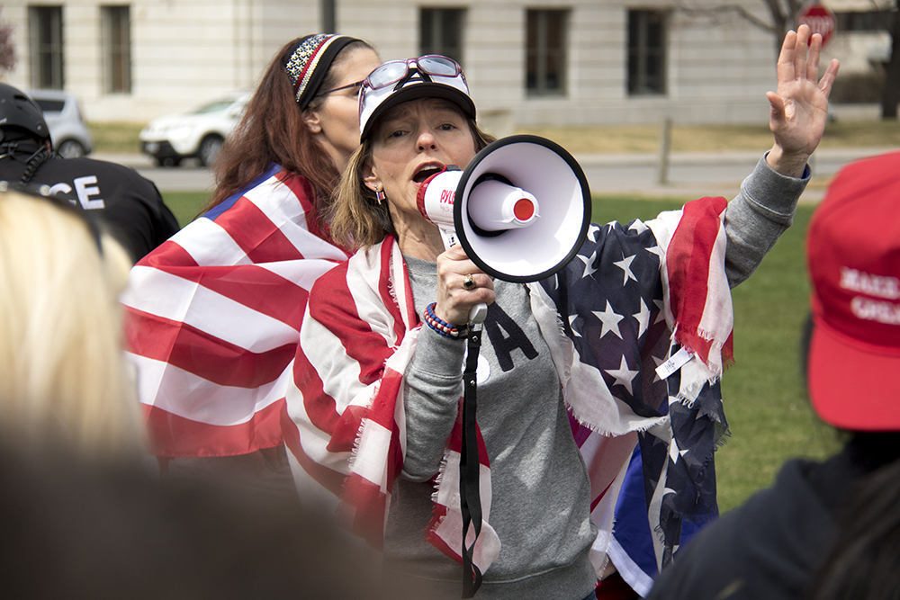 "Natasha Moore speaks at a ""Make America Great Again"" rally at Civic Center Park, March 25, 2017. (Kevin J. Beaty/Denverite)  protest; rally; kevinjbeaty; denverite; denver; colorado; civic center park; copolitics;"