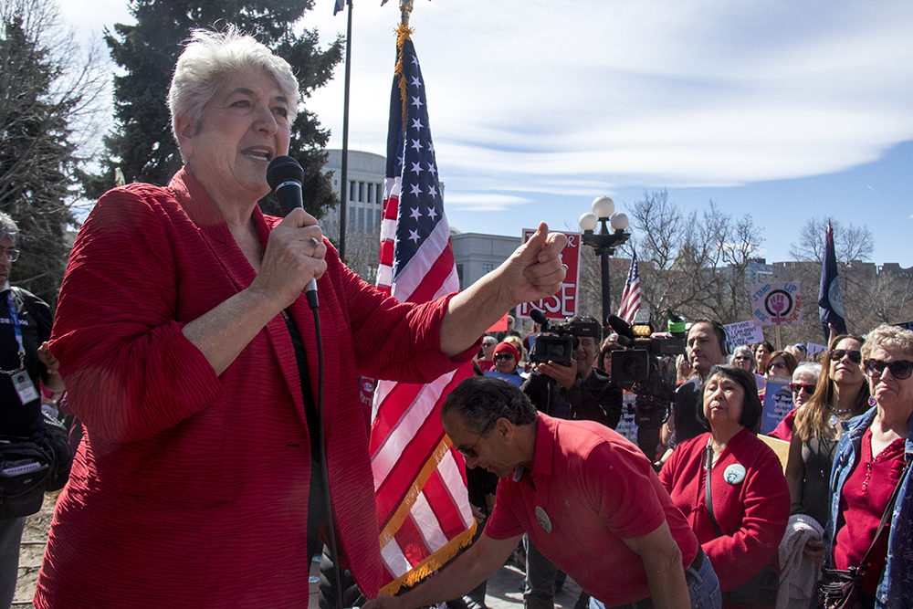 "District 31 Senator Lois Court speaks at a rally at the Capitol on the ""day without women,"" Mar. 8, 2017. (Kevin J. Beaty/Denverite)  womens march; day without women; protest; capitol; rally; kevinjbeaty; denver; denverite; colorado;"