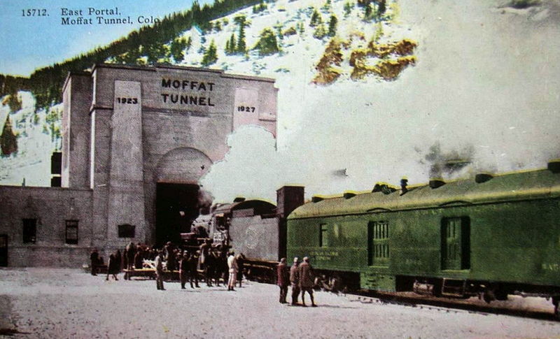 A train enters a portal of the Moffat Tunnel some time between 1927 and 1947. (Wikimedia Commons)