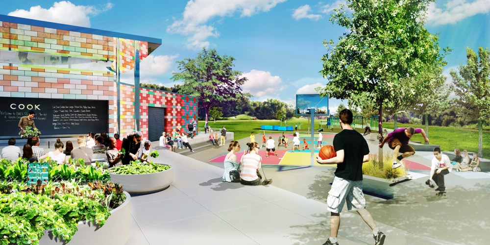 A rendering of the mini-rec center planned for the second phase of a park upgrade at Paco Sanchez Park. A plaza envisioned for Paco Sanchez Park. (City of Denver/Dig Studio/PORT Urbanism/Independent Architecture)