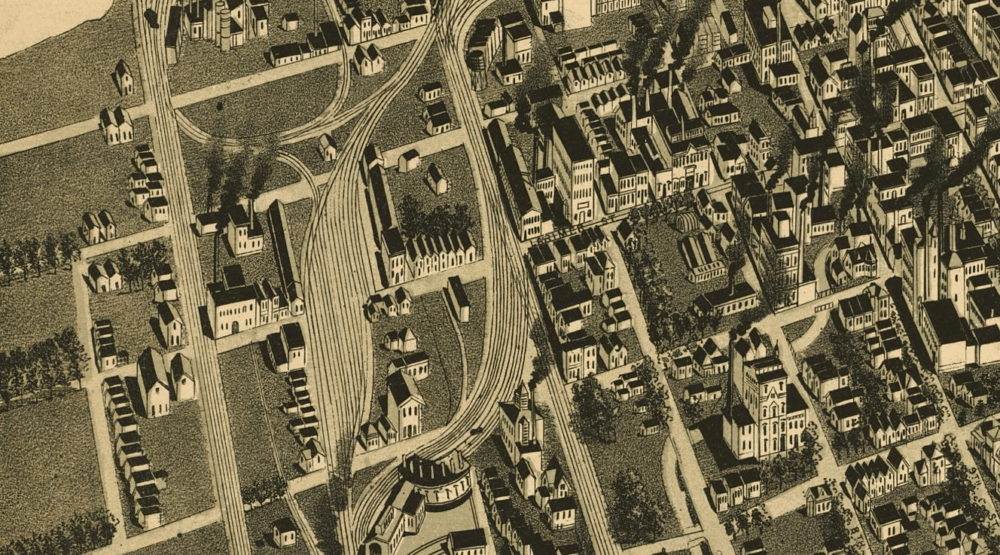 Before the viaducts were built, numerous rail lines crossed directly over Larimer Street, as shown in this illustrated map from 1889. (Library of Congress)