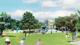 Playground structures planned for Paco Sanchez Park. A plaza envisioned for Paco Sanchez Park. (City of Denver/Dig Studio/PORT Urbanism/Independent Architecture)
