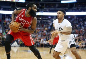 James Harden had a triple-double in Houston's win over Denver on Saturday. (Chris Humphreys/USA Today Sports)