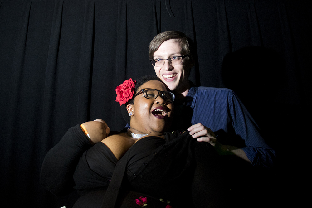 Crystal and Chris are not in costume, the're just looking sharp. Nerd Prom at Summit Music Hall, April 8, 2017. (Kevin J. Beaty/Denverite)nerd prom; cosplay; geek; party; video games; kevinjbeaty; denver; denverite; colorado;