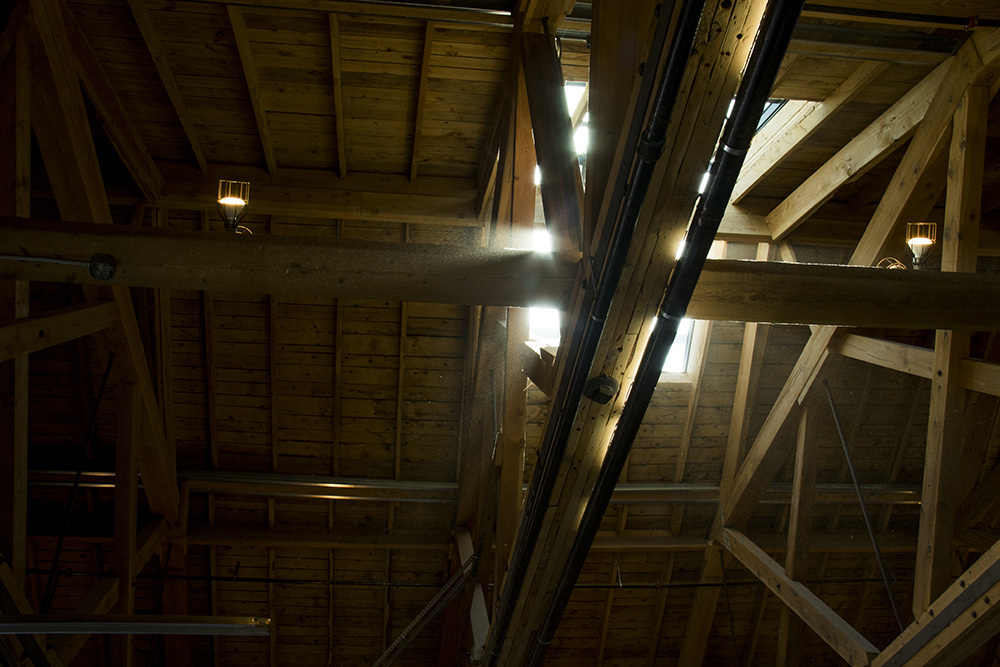 Dust in the rafters inside Bigsby's Folly on Wazee Street in RiNo, April 19, 2017. (Kevin J. Beaty/Denverite)