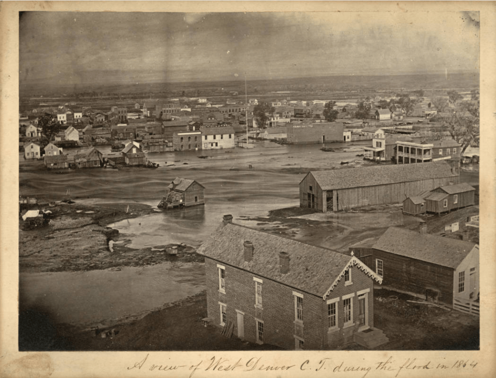 A view of west Denver during the 1864 flood. (W.G. Chamberlain/Western History & Genealogy Dept./Denver Public Library)
