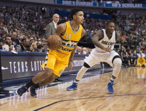 Gary Harris helped the Nuggets spoil Tony Romo night in Dallas. (Jerome Miron/USA Today Sports)