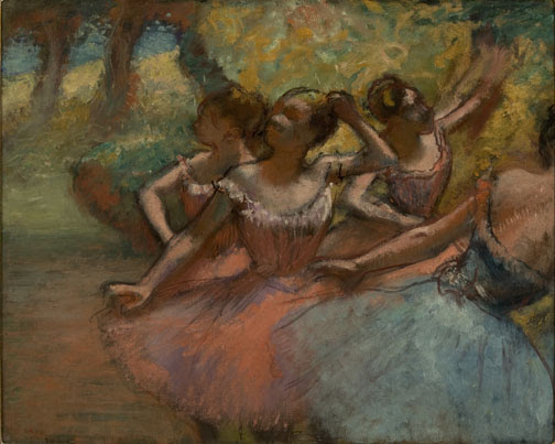 """Edgar Degas, """"Four Ballet Dancers on Stage,"""" 1885- 90. (Photo by João Musa.)"""