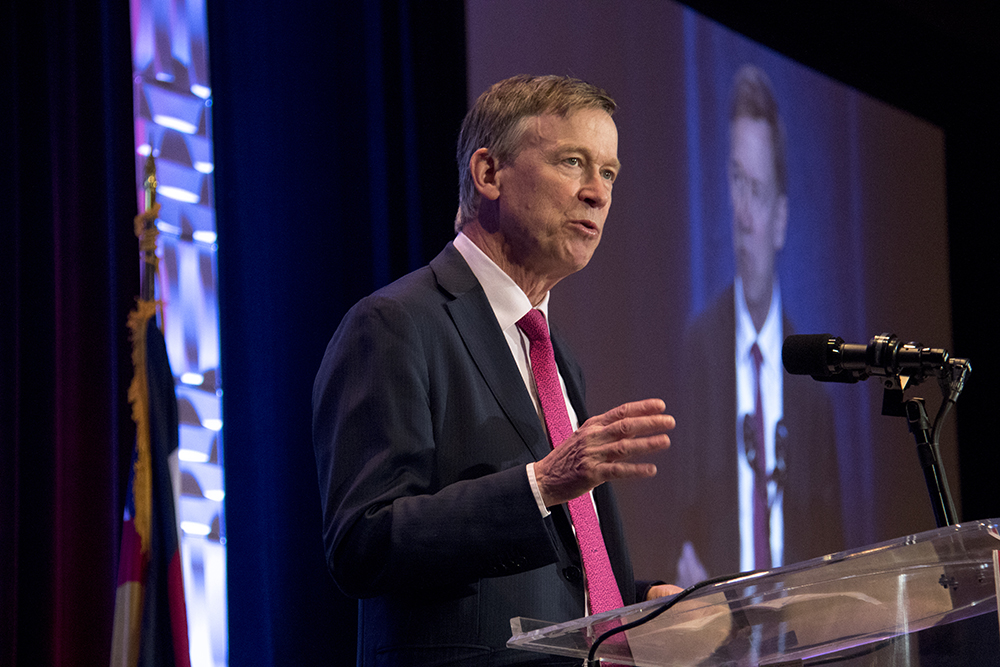 Governor John Hickenlooper speaks at the Denver Metro Chamber of Commerce's State of the State luncheon, May 11, 2017. (Kevin J. Beaty/Denverite)  chamber of commerce; downtown; colorado; denver; denverite; kevinjbeaty; governor john hickenlooper;