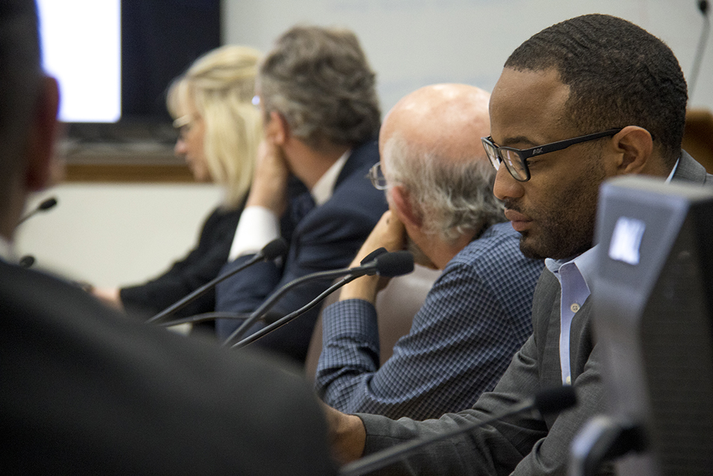 City Council President Albus Brooks. A city council committee meeting on sentencing reform as it relates to undocumented immigrants, May 11, 2017. (Kevin J. Beaty/Denverite)  denver; city council; city and county building; kevinjbeaty; denverite; colorado;
