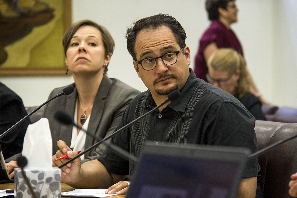 City council members Robin Kniech and Rafael Espinoza. A city council committee meeting on sentencing reform as it relates to undocumented immigrants, May 11, 2017. (Kevin J. Beaty/Denverite)  denver; city council; city and county building; kevinjbeaty; denverite; colorado;