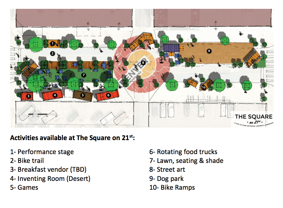 A city sketch of the Square on 21st temporary park. (City of Denver)