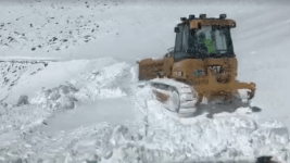 Plowing the Mount Evans road on May 24. (CDOT)
