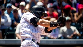 Charlie Blackmon. Colorado Rockies vs the Cleveland Indians, June 7, 2017. (Kevin J. Beaty/Denverite)  colorado rockies; denver; sports; baseball; coors field; kevinjbeaty; denverite; colorado;