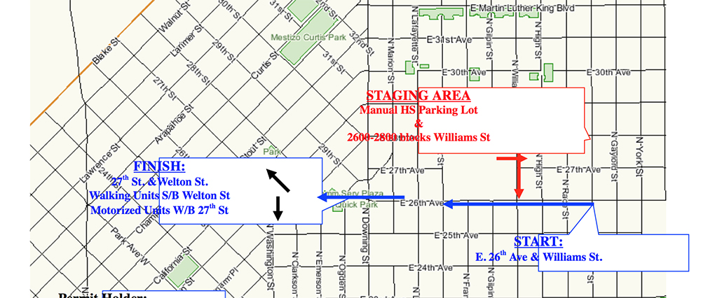 The Juneteenth parade route for June 17, 2017. (Courtesy, Denver Office of Special Events)