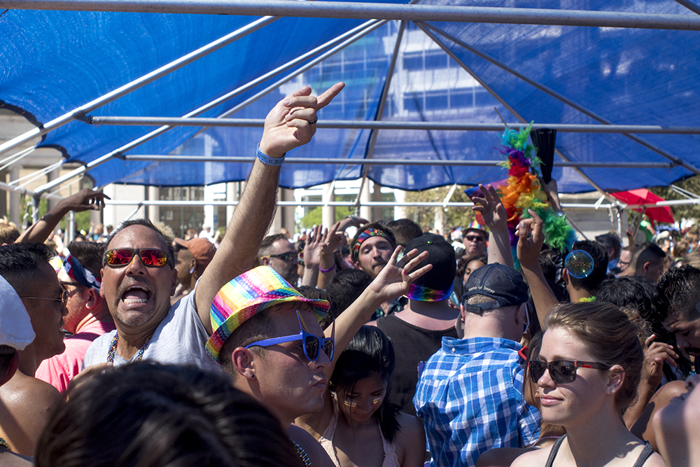 Midday dancing at denver PrideFest, June 18, 2017. (Kevin J. Beaty/Denverite)